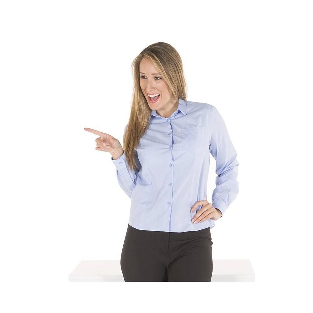 Camisa semientallada con pinzas y bolsillo